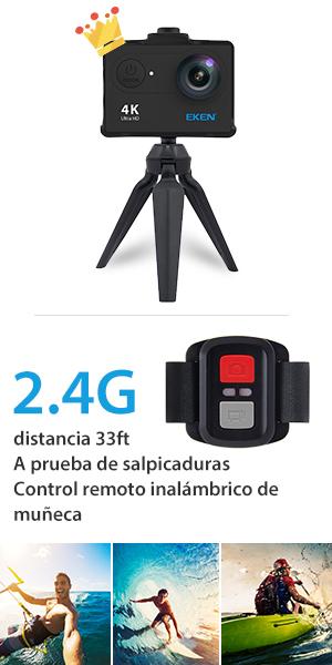 EKEN 4K Camara deportiva acuatica WIFI H9R Sumergible hasta 30m 170 grados 1080p 60fps Ultra HD action cam Accesorios tripode Batería Recargable ...