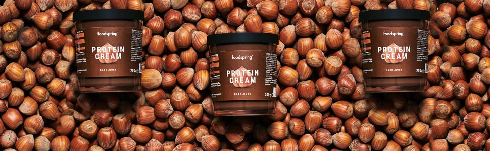 foodspring Crema Proteica, Cacao y Avellanas, Pack de 6 x 200g, Extremadamente cremosa, Con 85% menos de azúcar