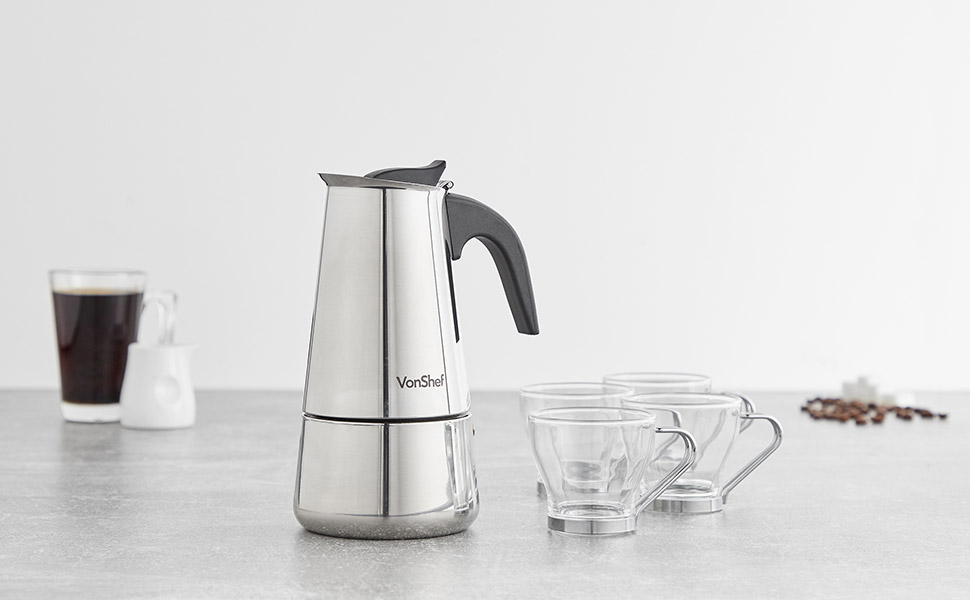 Cafetera Espresso de encimera de 6 tazas con 4 tazas de cristal VonShef – Acero inoxidable: Amazon.es: Hogar