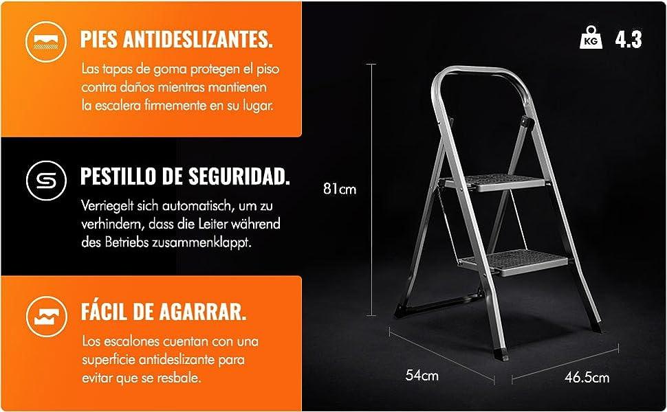 VonHaus Escalera De Acero de 2 Escalones - Antideslizantes - Diseño Plegable Fácil De Guardar - Ideal Para El Hogar/Cocina/Garaje: Amazon.es: Bricolaje y herramientas