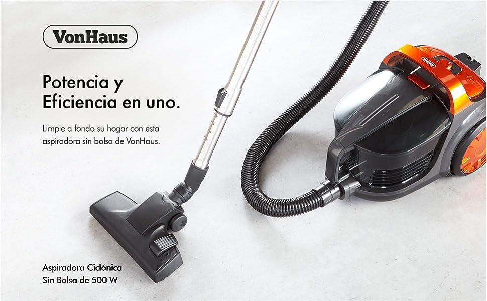 VonHaus Aspiradora Ciclónica Trineo Sin Bolsa de 500W - para todo tipo de Pisos, Filtro HEPA: Amazon.es: Hogar