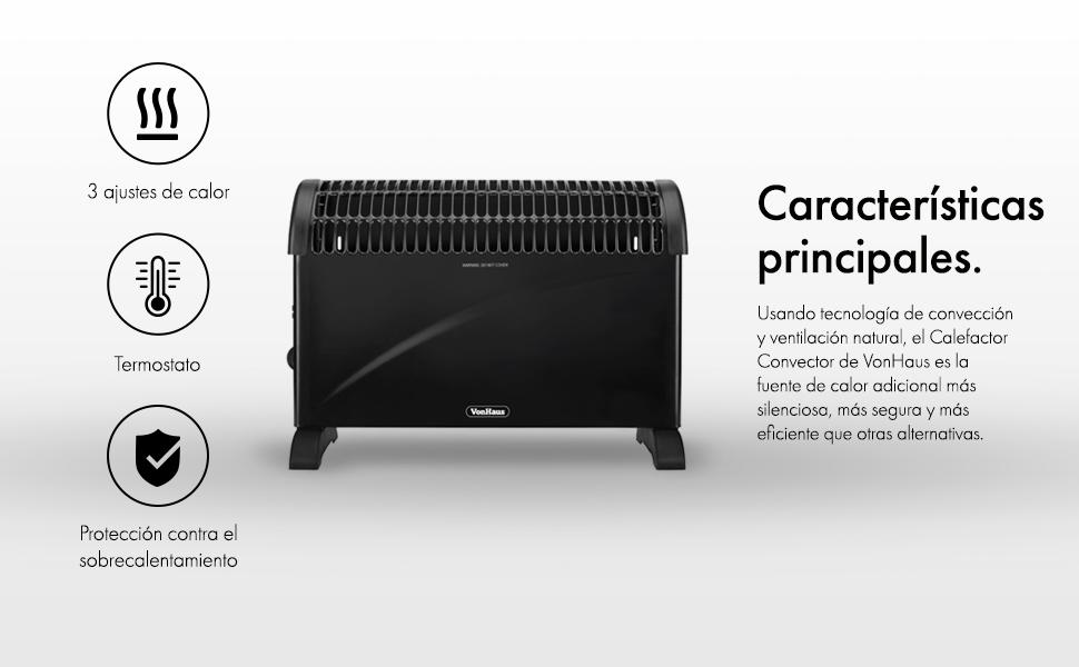 VonHaus Calefactor Convector 2000 W – 3 Ajustes de Calor, Termostato Ajustable, Color Negro