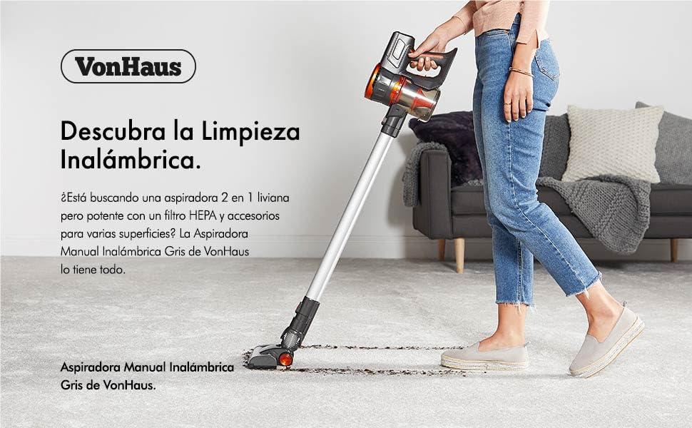 VonHaus Aspiradora Escoba Inalambrica sin Cable Gris Intercambiable - Batería 22,2V, sin Bolsa, Accesorios, Ligera y Portátil, Filtro HEPA: Amazon.es: Hogar