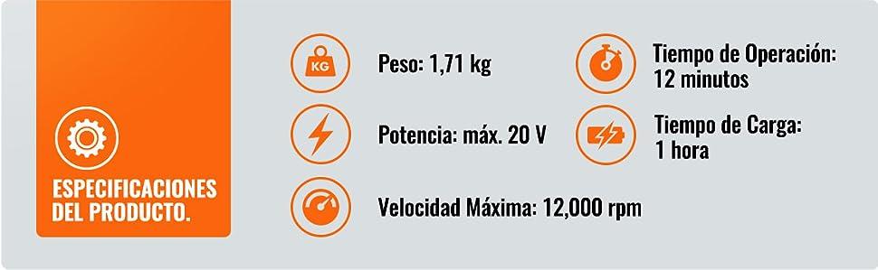 VonHaus Soplador de Hojas a Batería 20 V - Tiempo de Operación 12 ...