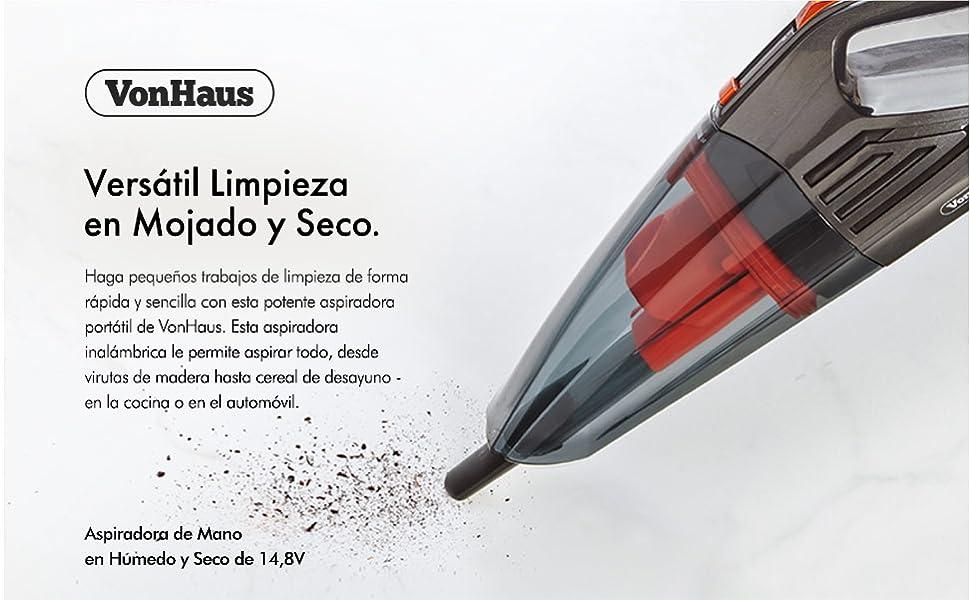 VonHaus Aspiradora de Mano Portátil Inalámbrica a Batería 14,8 V ...