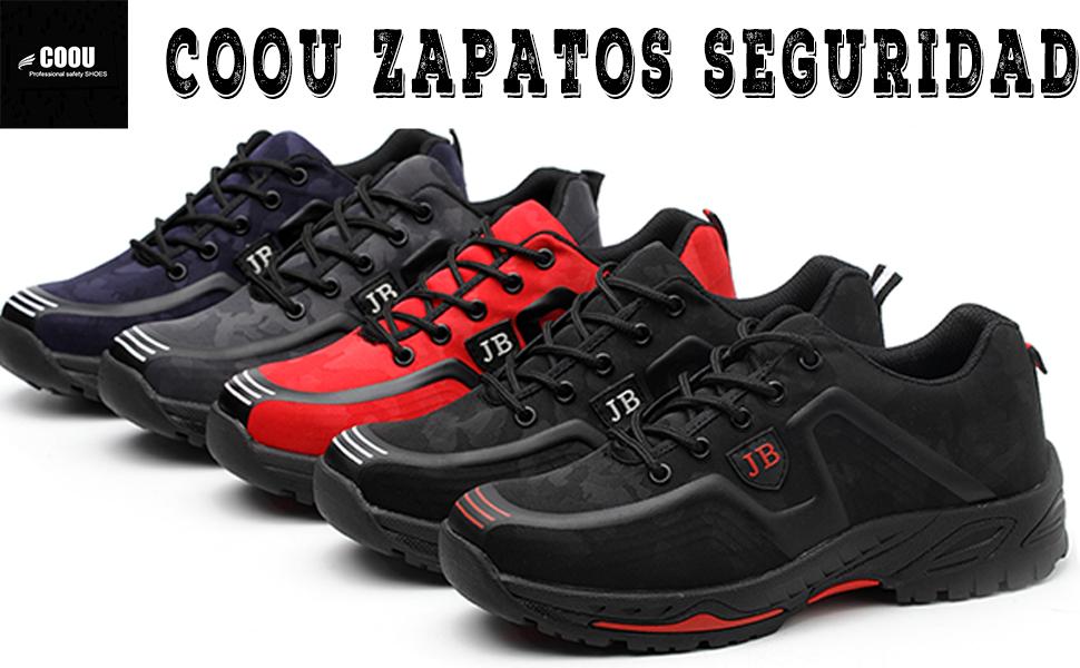 COOU Calzado de Seguridad Puntera de Acero Antideslizante Comodas s3 Zapatos Seguridad para Hombre Mujer: Amazon.es: Zapatos y complementos