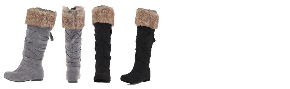 Botas Nieve Mujer Forrada Invierno Cuero Cuña 5 CM Rodilla Altas Ante Piel Tacón Cordones Calentar Elegantes Aire Libre Negro Marrón Gris 34 43
