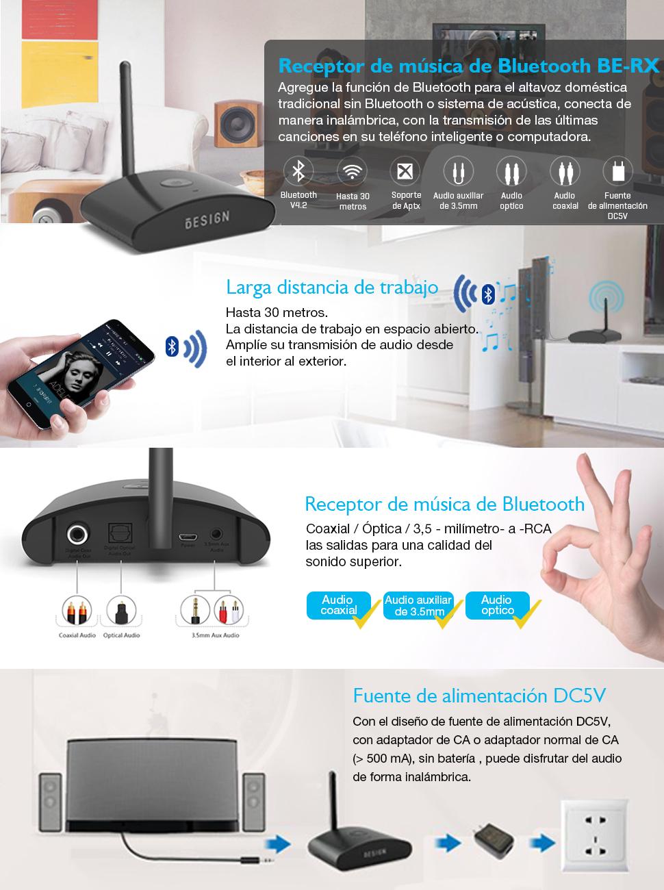 Besign BE-RX Largo Alcance Receptor Bluetooth, Adaptador de Audio Inalámbrico para Equipo Música Doméstico, Altavoces y HiFi, Admite Digital Coaxial, Digital Óptica y 3.5mm de Audio: Amazon.es: Electrónica