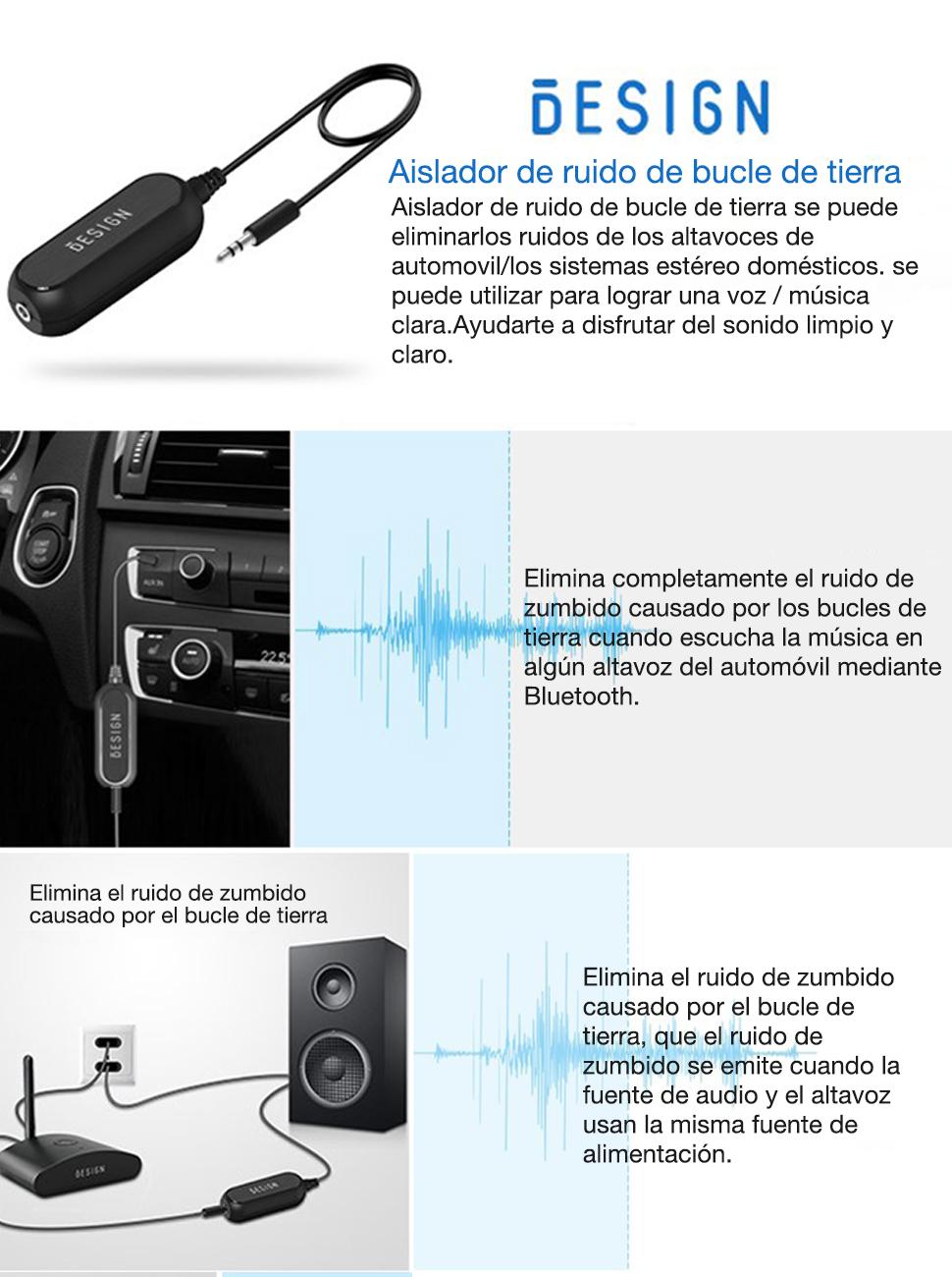 Besign Aislador para el Ruido de Circuito Puesto a Tierra para el Sistema de Audio de Coche//Altavoz de casa con el Cable de Audio de 3,5mm