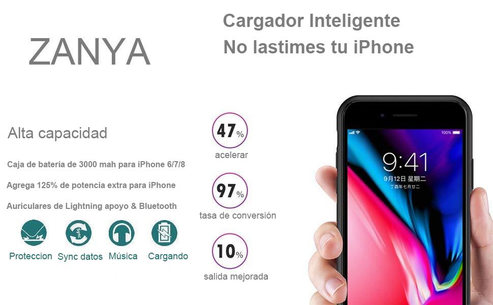 179ecf12ebc 3000 mAh batería caso de iPhone 7 ZANYA iPhone 7 batería caso con ...