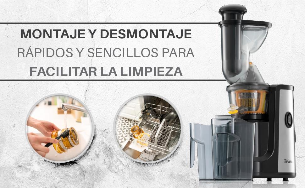 Twinzee Extractor de Zumo de Frutas y Verduras sin BPA, Extractor ...