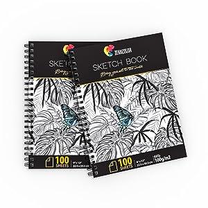 """Pack de 2 x Bloc de Dibujo Profesional, A4 (9""""x12"""") con Espiral - 200 x Hojas Blancas (100gr) - Cuadernos de Dibujo con Tapa Rígida - Block de Páginas Vírgenes para Dibujar,"""