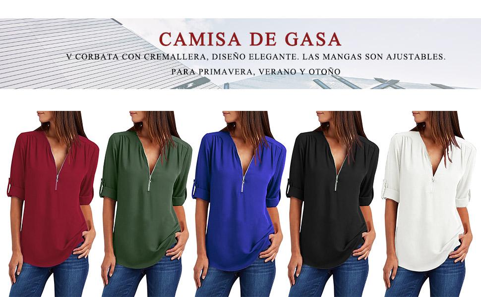 UMIPUBO Blusas y Camisa Mujer Vaquera Sexy Camisetas de Gasa Tops ...