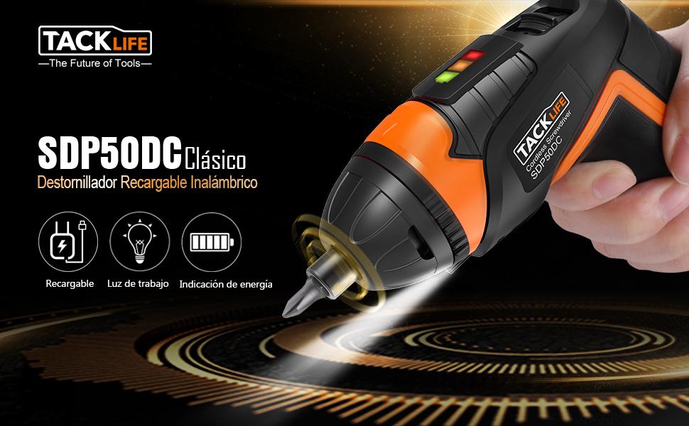 Atornillador Eléctrico Inalámbrico Tacklife SDP50DC, Avanzado Destornillador Eléctrico (Máximo Par 4 Nm, Taladro sin Cable, LUZ LED, 30 Brocas y 1 ...