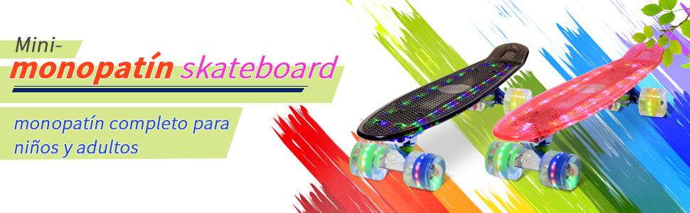 22 monopat/ín Skateboard Retro con la Bolsa y T-Herramientas ABEC- 7 Rodamiento Rueda LED-PU de 59MM hasta 100kg Yorbay Tabla Azul//Ruedas LED Transparentes Upgrade Version
