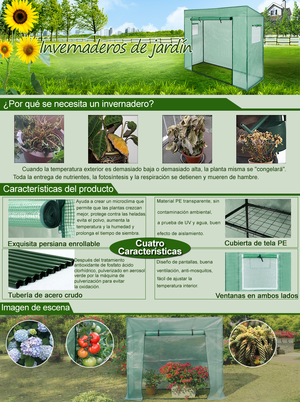 Yorbay Invernadero de Jardín con Pantalla Rejilla de PE (140g/㎡), para Tomates, Terraza, Verde, 200 x 80 x 170/150 cm