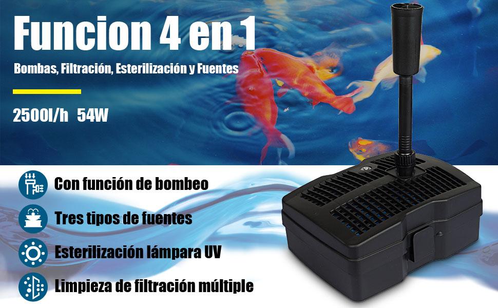 SunSun CUF-6000 3 en 1 Filtro /& Bomba para Fuentes 4500l 54W /& clarificador-UV 9W