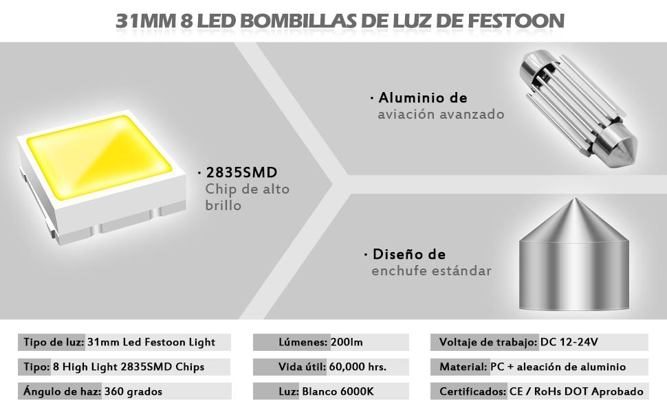 KaTur 5630 Chipsets Aluminio CanBus Sin Errores 1.72  42 mm DE3175 DE3021 DE3022 6428 7065 LED Adorno Interior del Coche Mapa de la Puerta Luces de Techo C/úpula Xen/ón Blanco 12V Paquete de 10
