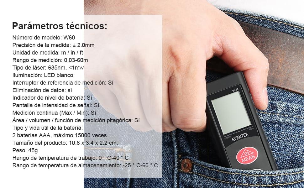 Telémetro Láser, Medidor Laser, Eventek 60m Mini Distanciómetro Láser Portátil Digital Área y Volumen para Habitaciones, Edificios, Fábricas, Almacenes: Amazon.es: Bricolaje y herramientas