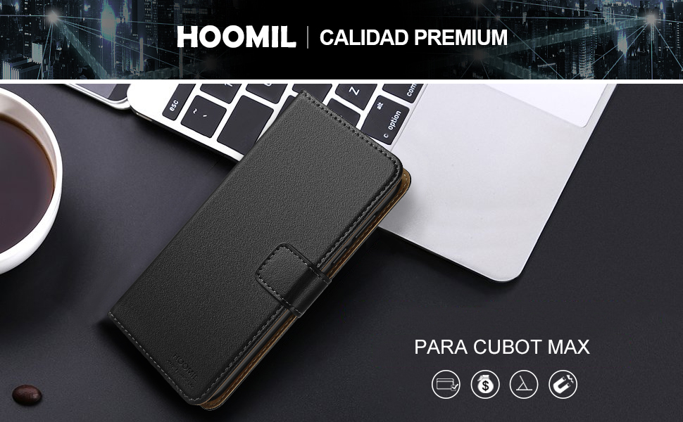HOOMIL Funda Cubot MAX, Cuero Premium Fundas para Cubot MAX Carcasa Case (H3155, Negro)