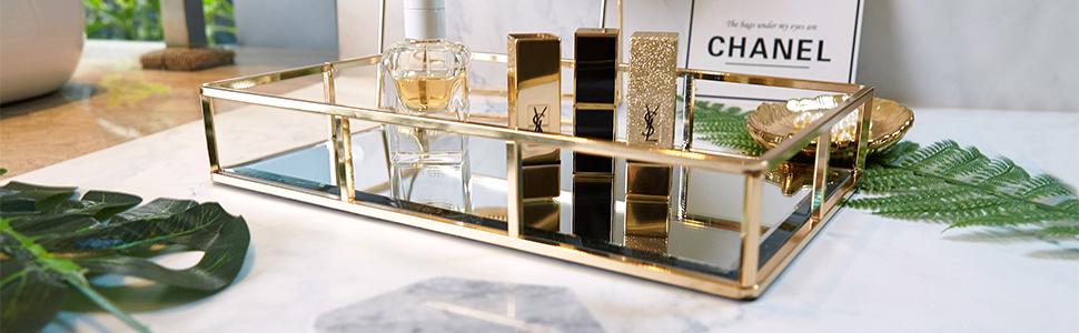 PuTwo Bandeja con Espejo 12'' x 8'' Bandeja Organizadora - Champagne Gold