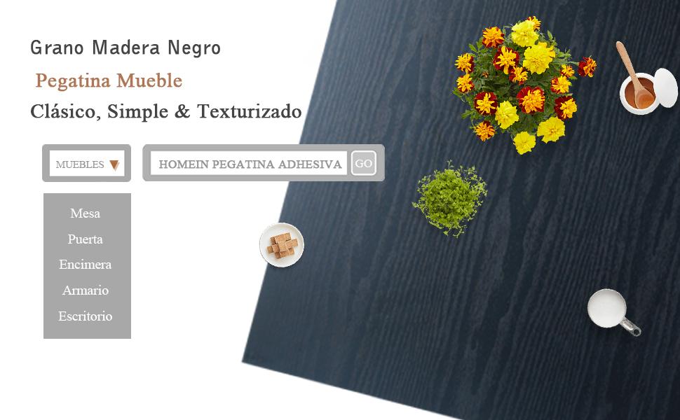 Homein Papel Adhesivo para Muebles Pegatina Vinilo Negro PVC ...