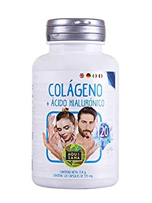 Colágeno + ácido hialurónico- Aquisana| Vitamina C| Zinc | piel,articulaciones y huesos| alergenos: Pescado -120 capsulas