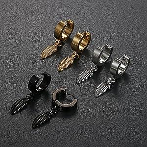 5adc5595c828 joyería hombre mujer regalo joya moda juego pendientes aretes acero  inoxidable quirúrgico oro negro