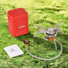 Terra Hiker Estufa de gas portátil para camping con conveniente encendido piezoeléctrico, 3500W Small Durable Backpacking Cooker with Carrying Case