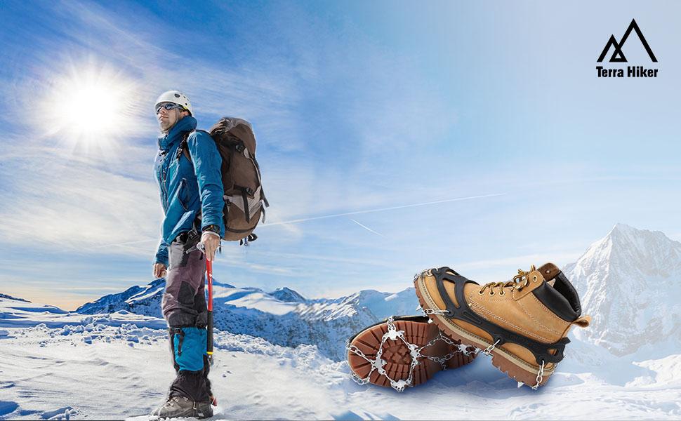 Terra Hiker Crampones con 18 Dientes-Pinchos Tacos de Tracción de Acero Inoxidable y Anti Deslizante en Hielo Estabilizadores para Caminar Correr ...