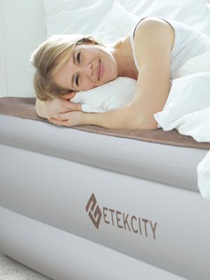 Etekcity Colchón Hinchable de Aire (191 x 99 x 46 cm), Cama de Aire Inflable con Válvula Eléctrica Incorporada, Tamaño Individual con Alto PVC