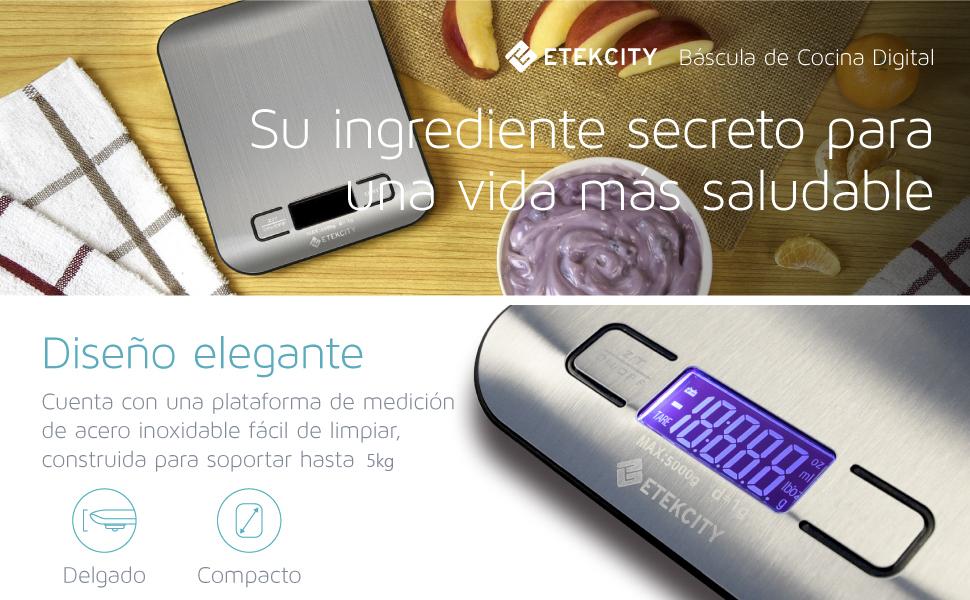 Etekcity EK6015 Báscula Digital para Cocina de Acero Inoxidable, 5kg ...