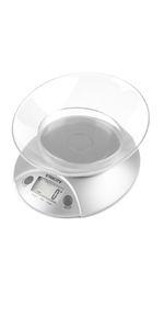 bascula digital para cocina con bol de acero inoxidable