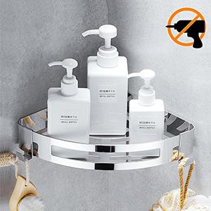 Estante para baño Kazeila, sin perforaciones, estanteria para ducha montado en la pared, pegamento autoadhesivo, acero inoxidable 304 con 2 ganchos ...