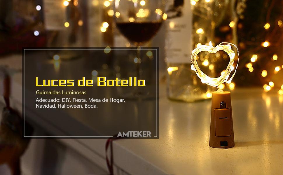 Amteker Luces de Botella (Operación de Batería)