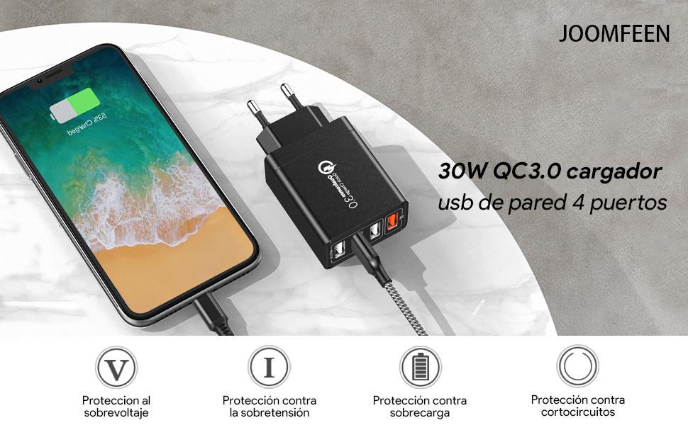 JOOMFEEN Quick Charge 3.0 Cargador USB de Pared con Cable USB Tipo C,30W QC 3.0 Cargador Móvil 4 Puertos Cargador de Red USB Carga Rapida para Samsung ...