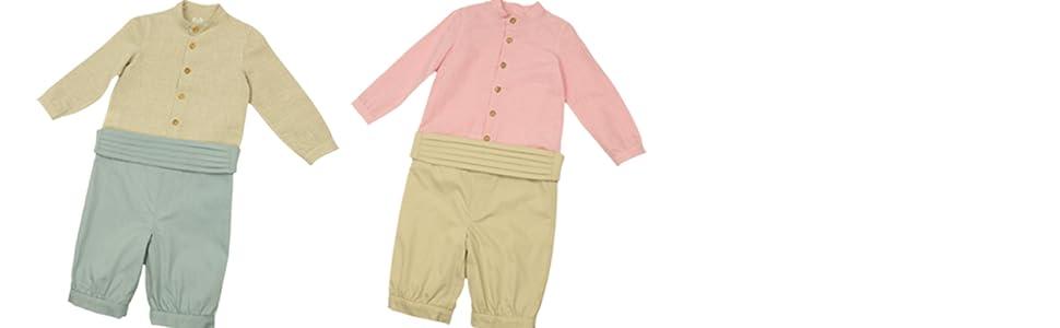 MI HIJA Y YO Conjunto Bebé Camisa de Lino y Pantalón con Fajin de ...