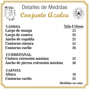 Excelente Solo 6 Meses Conjunto Azalea Camisa Cubre-Pa/ñal y Capota - Hecho a Mano