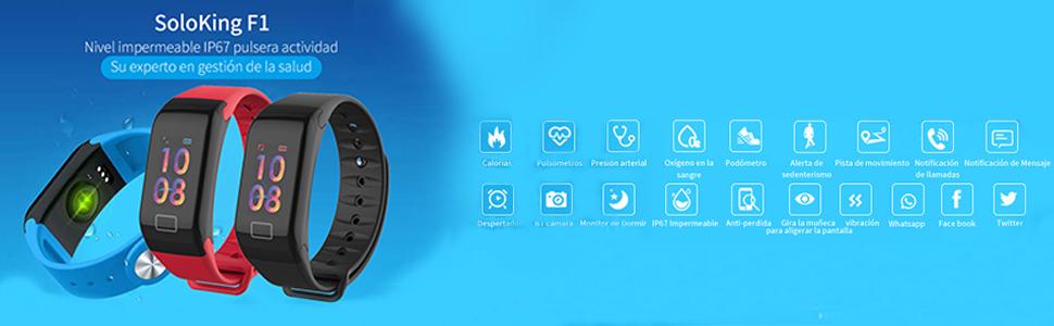 SoloKing F1 Pulsera Actividad Reloj Pulsera Inteligente con ...