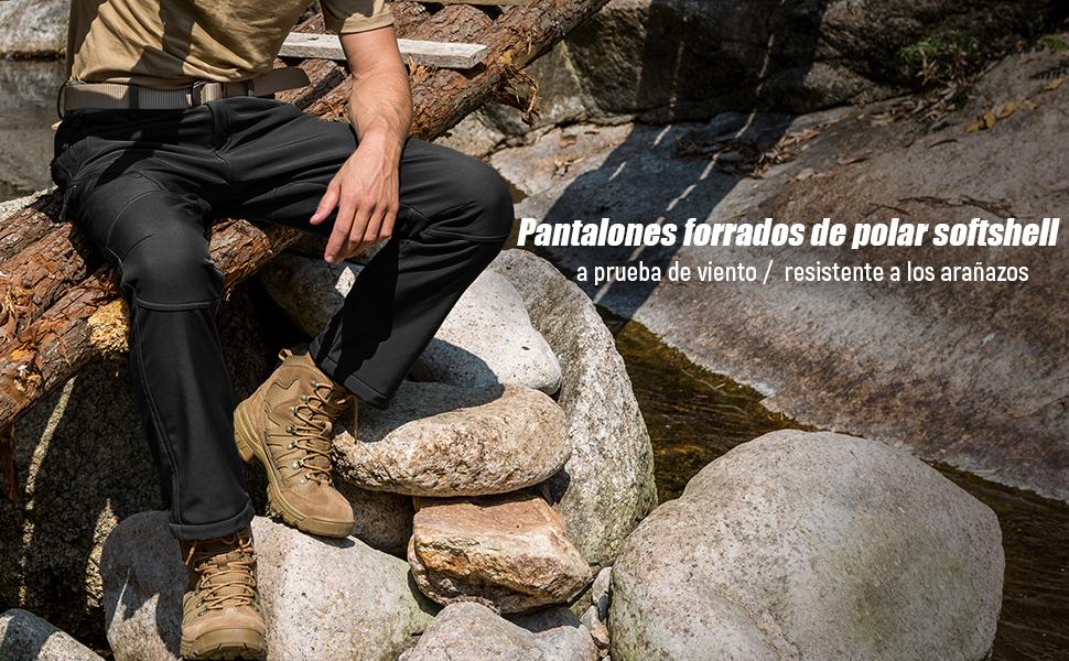 Pantalones de Trabajo Softshell Caminar FREE SOLDIER Pantalon Impermeable Hombre Pescar para Trekking Pantalones de Invierno con Forro Polar T/érmico para Exteriores