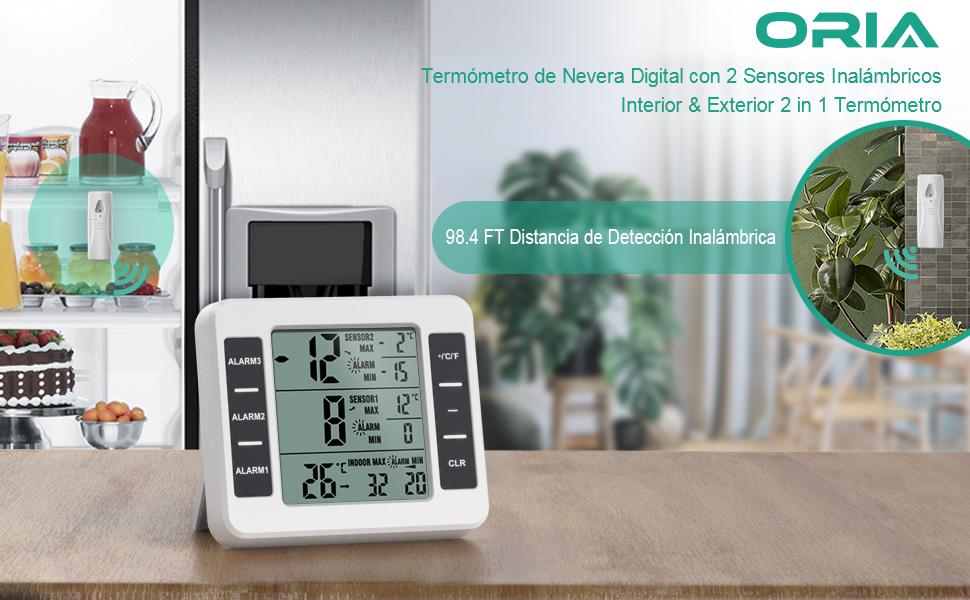 ORIA Termómetro Digital del Refrigerador, Termómetro Inalámbrico ...