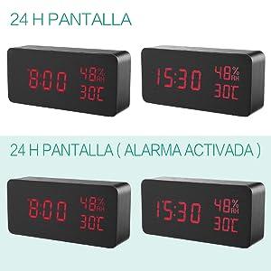 【2019 New】 ORIA Reloj Digital Despertador de Madera, Digital Alarma Despertador con Tiempo Fecha y Año, Temperatura Humedad, 3 Grupos de Hora de ...