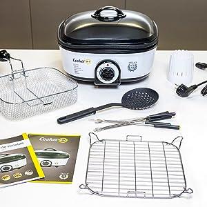 Cecotec Olla de Cocción Lenta Cooker 8 en 1. Calentar, Hervir, Cocción Lenta, Cocción al Vapor, Saltear, Plancha, Rustir, Freír, Múltiples Accesorios: Amazon.es: Hogar