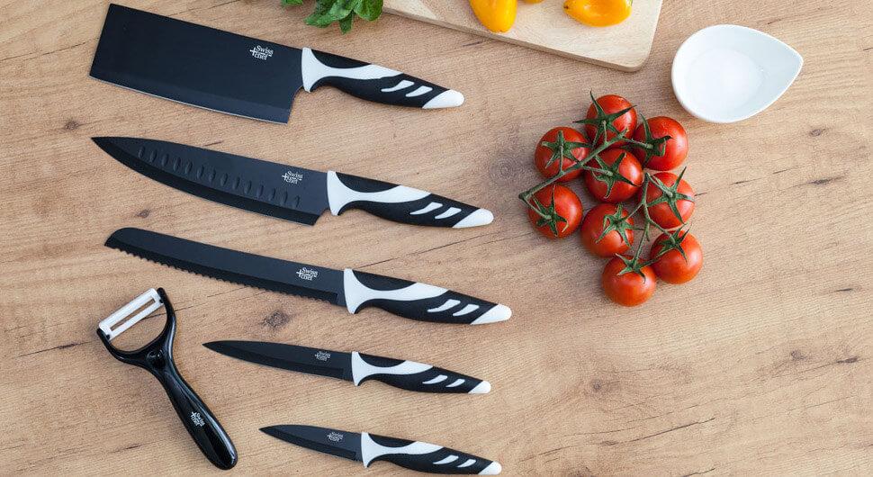 Juego de 6 cuchillos de cocina de alta gama. Cuchillos profesionales de estilo suizo. Color blanco o negro. Swiss Chef de Cecotec. (Blanco)