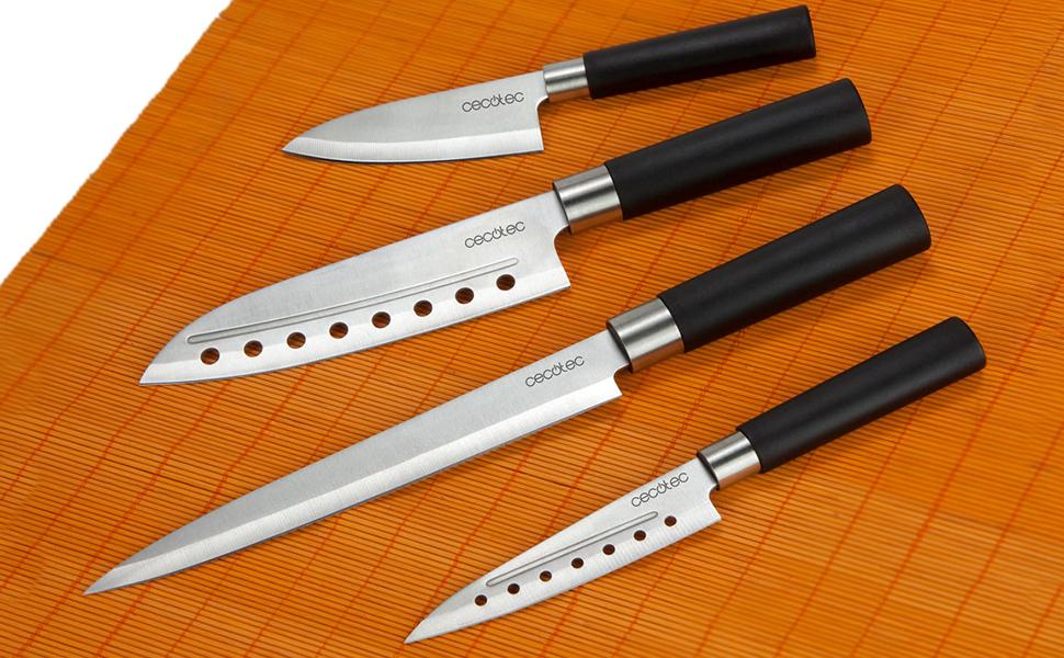 Cecotec Juego de 4 Cuchillos Profesionales de Estilo japonés para Uso doméstico. Set de Cuchillos Santoku