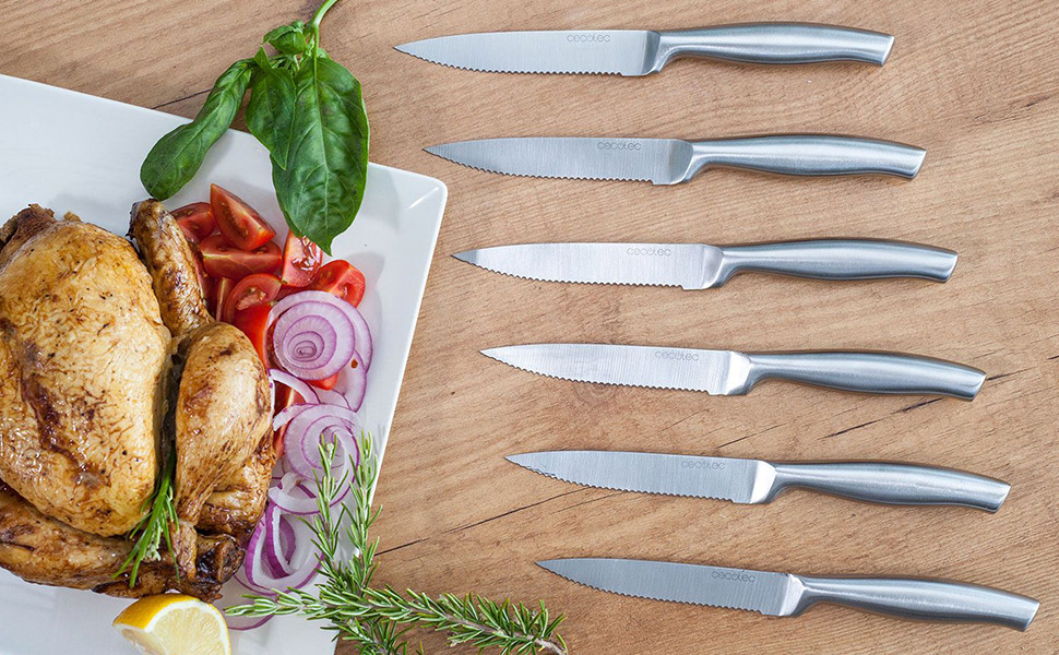 Cecotec Set de 6 Cuchillos Profesionales de Carne con Sierra. Mango y Hoja forjados en una Sola Pieza de Acero. Cuchillos Profesionales de Carne