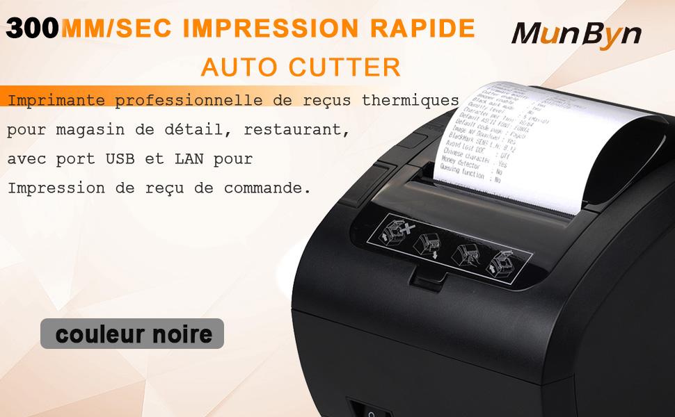 MUNBYN Impresora de Ticket Térmica WiFi Inalámbrica, Ticketera de 80mm de Recibos, Impresora Etiqueta Velocidad 300mm/s ESC/POS USB Compatible con ...