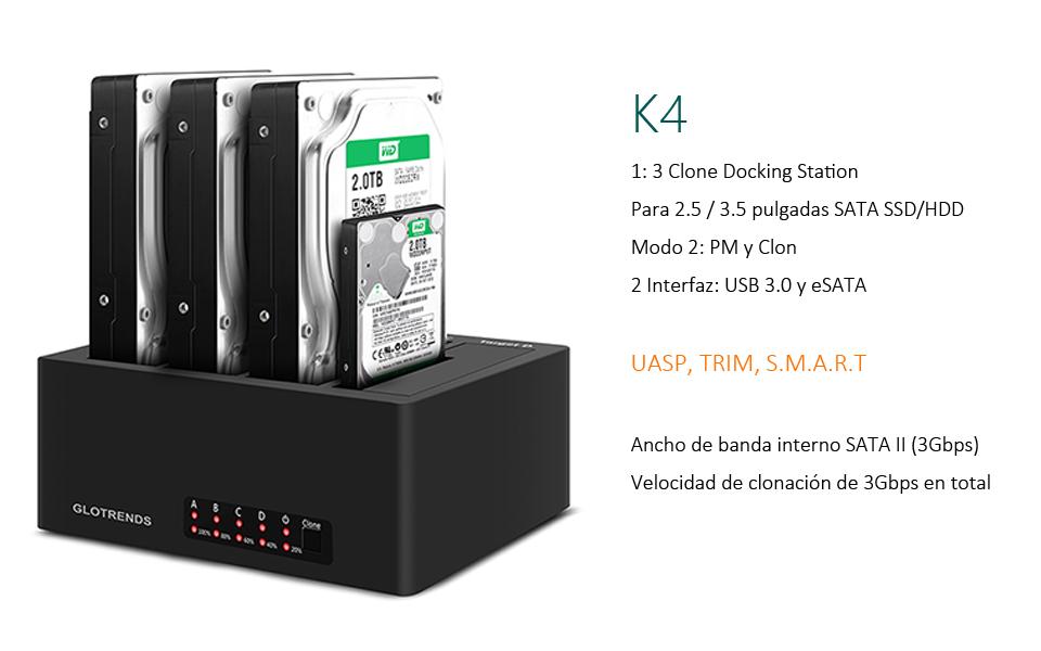 GLOTRENDS K4 Base de conexión USB 3.0 et eSATA 1:3 Offline ...