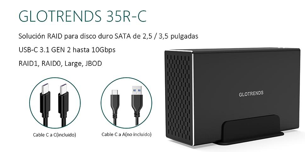 Externo SATA USB Caja Raid - GLOTRENDS 35R-C USB-C Gen2 3.1 10G ...