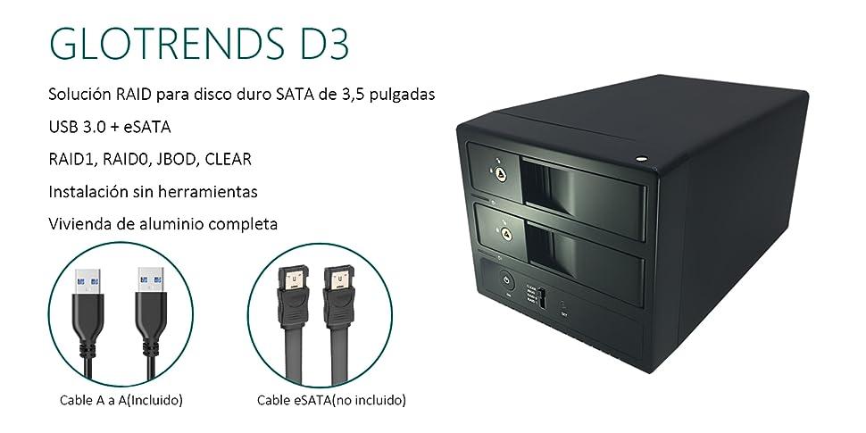 Externo SATA USB Caja Raid - GLOTRENDS D3 USB 3.0 + eSATA Disco Duro Externo 2 bahía Raid Caja para HDD/SSD de 3,5 Pulgadas, Estructura de Aluminio Caja Sin Disco: Amazon.es: Electrónica